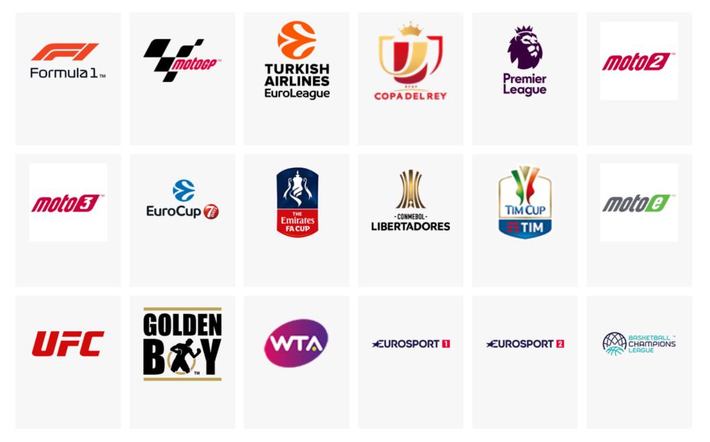 Formula 1, MotoGP, EuroLeague, Copa del Rey, Premier League, APT Tennis, WTA, Eurosport